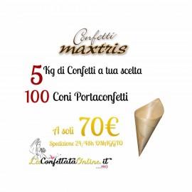 5kg confetti Maxtris + 100 coni legno